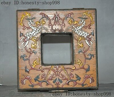Old China Bronze Lacquerware Carved Auspicious Sika deer Jewelry Case Box Boxes 7