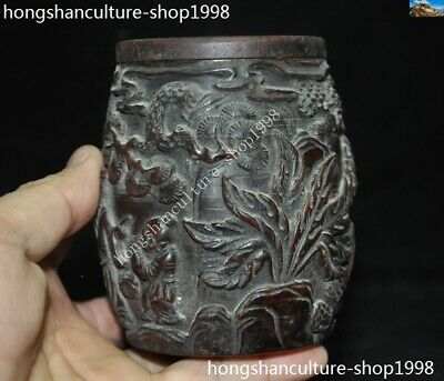 Marked Chinese Dynasty Ox horn Carved Pine tree Old Man Drum shape Box Boxes 8
