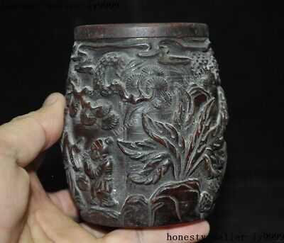 """4""""Collect Rare China Chinese Old Ox Horn Carved Pine Tree man boy Drum Box Boxes 8"""