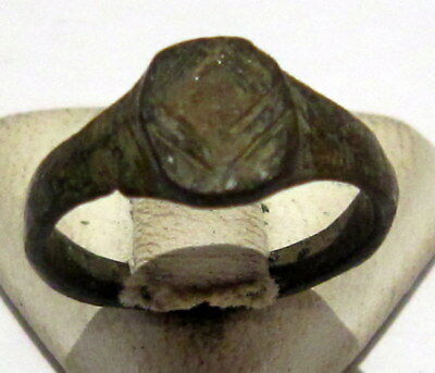 Beautiful Post-Medieval Bronze Kids Ring With Engraving On The Top # 77 2