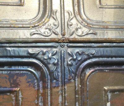 Antique Iridescent Ceiling Tin Tile Carnival Canvas Elegant Fleur De Li Frame 4
