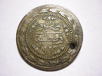 1223 //28 H 1837AD AR 7gr 3,4cm Silver Rare Ottoman Empire 3 KURUSH Mahmud II