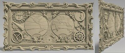 3D STL Model # MAP OF THE WORLD 2  # for CNC 3D Printer Engraver Carving Aspire 2