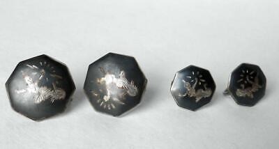 LOT Vintage 1930s Siam Sterling Thai Nakon Dancers Niello 2 Pins+3 Pair Earrings 8