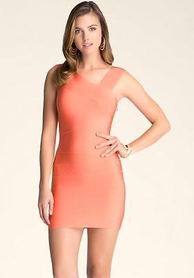 Bebe Coral Asymmetrical Straps Bandage Dress New Nwt $129 Large L 4