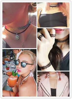 Hippy 90s Stretch Tattoo Elastic Boho Choker Necklace Bracelet Cord Retro Gothic 2
