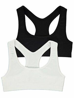 2 Pack GEORGE Girls Crop Tops Seam Free School Age 6 to16 Bra Underwear Top 4