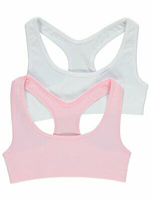 2 Pack GEORGE Girls Crop Tops Seam Free School Age 6 to16 Bra Underwear Top 2