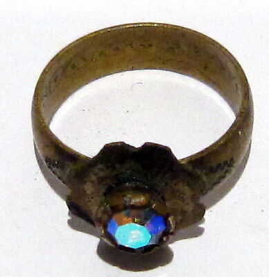 VINTAGE NICE BRONZE RING WITH STONE FROM THE EARLY 20th CENTURY # 972 7