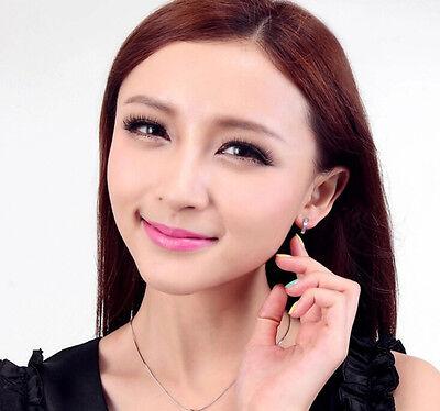 Women Silver Round Crystal Heart Hoop Ear Stud Earrings Wedding Bridal Jewelry 8