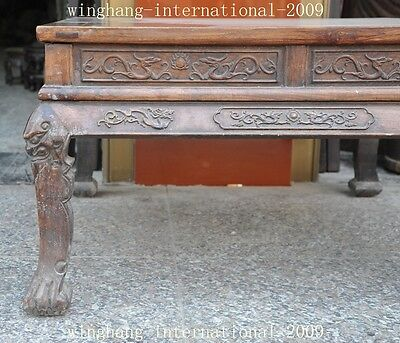 Old China Huanghuali Wood Hand-Carved Dragon phoenix Statue Ancient Tables Desk 3