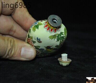 marked old chinese pure copper Cloisonne Magpie Bird Peony Pattern Snuff bottle 6