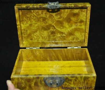 Old China palace Gold-rimmed nanmu Wood carved statue Jewelry Box storage boxes 7