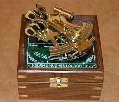 vintage brass nautical maritime sextant astrolab ship instrument w/ wooden box 2