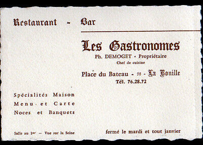 1 Sur 2 LA BOUILLE 76 RESTAURANT BAR LES GASTRONOMES Carte De Visite Illustre