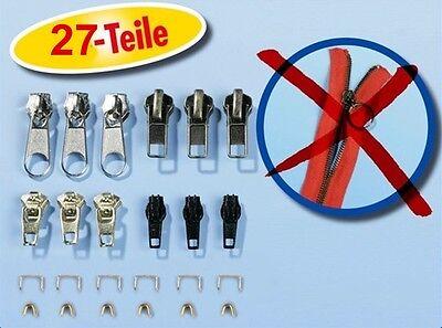 Reißverschluss Reparatur Set 27 Teilig Zipper Schieber inkl. Greifringe Metall