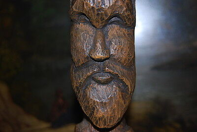 Wonderful Large Hand Carved Figure Of An Native Man With A Beard In Natural Wood 6