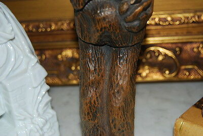Wonderful Large Hand Carved Figure Of An Native Man With A Beard In Natural Wood 8