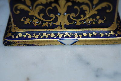 Superb Royal Vienna Romantic Scene Vase Urn Cobalt Blue And Gold With Beading 8