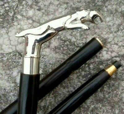 Jaguar Walking Stick Solid Brass Nickle Finish Handle Black Stick Fordable Cane 10