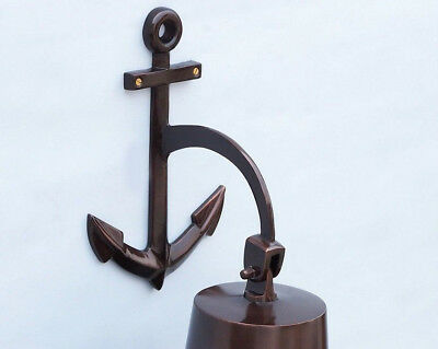 """Copper Finish Solid Aluminum Ship Bell 11.5"""" w/ Anchor Bracket Hanging Decor New 3"""