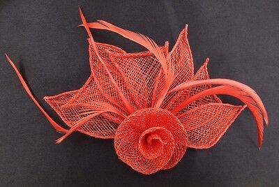 Hessian Net Rose & Feather Fascinator On A Forked Clip And Brooch Pin 7