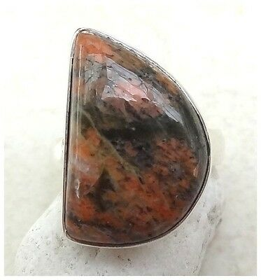 GENUINE 925 Sterling Silver UNAKITE SEMI PRECIOUS Gemstone RING SIZE L ~ 5 3/4