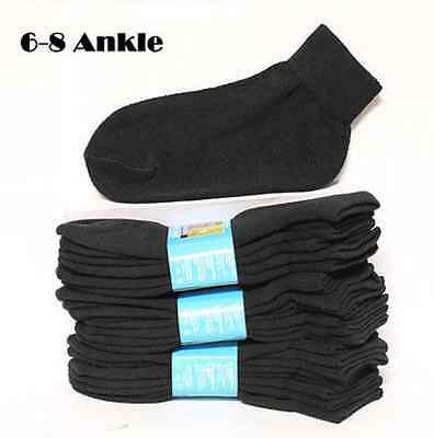 Kids Cotton Socks Lot Crew Ankle Low Cut 2-3 4-6 6-8 Boy's Girl's White Black 5