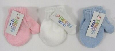 Baby Babies Girls Boys Tiny Premature Gloves Mittens Plain Small 9 cm Knitted 2