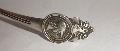 Antique Medallion Mustard Ladle Sterling Silver Gorham pat 1864 2