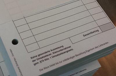 1x RECHNUNGSBLOCK Quittung Kleinunternehmer  DIN A6, 100 BLATT gelocht (22421) 6