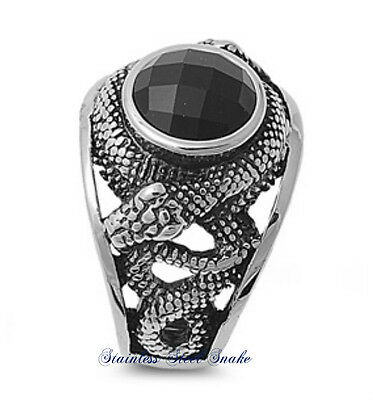 Stainless Steel 316L Snake Design With Black Onyx Stone Ring 13Mm Sizes 7-15 2