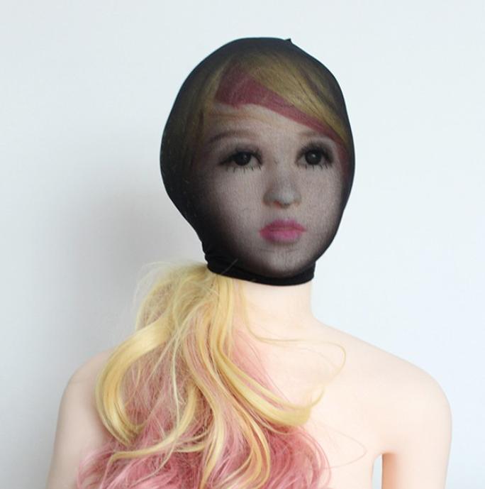 Unisex Fetisch Maske Cosplay Bondage BDSM Nylon Strumpfhosen-Stoff schwarz 4