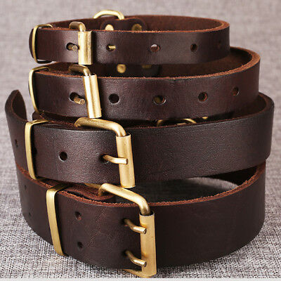 New Top Quality Handmade Pet Dog Collar Genuine Real Cow Leather Dog Collar M L 3