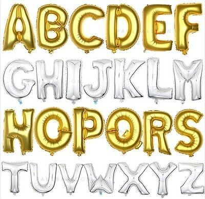 "16"" Silver/Gold Foil Balloons - Alphabet (Letter)/Number Birthday Weding Party"