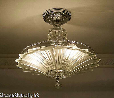 334 Vintage 30's 40's Ceiling Light Lamp Fixture  Chandelier Re-Wired SUNFLOWER 2