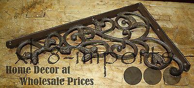 2 Cast Iron Antique Style LEAVES & VINE Brackets, Garden Braces Shelf Bracket 4