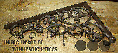 4 Cast Iron Antique Style LEAVES & VINE Brackets, Garden Braces Shelf Bracket 4