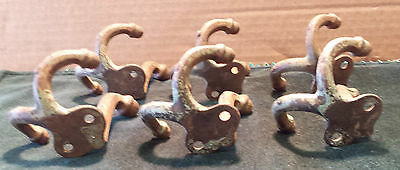 6 matching vintage Iron Coat hooks~acorn tops painted green. (#51) 3