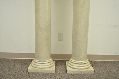 "Pair of 60"" Faux Concrete Fiberglass Columns Pedestal Sculpture Plant Stands vtg"