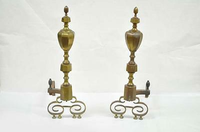 Antique 19th C Pair of Solid Brass American Federal Fireplace Mantle Andirons 10