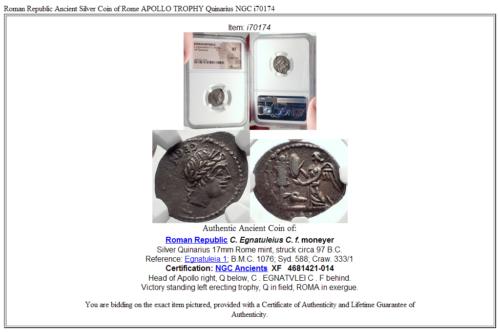 Roman Republic Ancient Silver Coin of Rome APOLLO TROPHY Quinarius NGC i70174 5