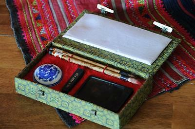 Old Chinese Calligraphy Set…  with Brushes, Inks & Mixing Palate... 3