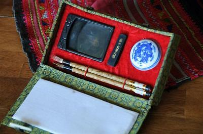 Old Chinese Calligraphy Set…  with Brushes, Inks & Mixing Palate... 4