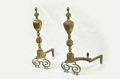 Antique 19th C Pair of Solid Brass American Federal Fireplace Mantle Andirons 2