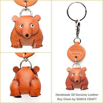 Bear Family Handmade 3D Leather Keychain//Charm *VANCA* Made in Japan #56870 L