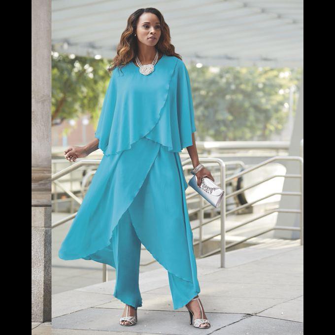 Ashro Trianon White Multi Summer Pant Suit Set Dinner Cruise Church 1X 2X 3X