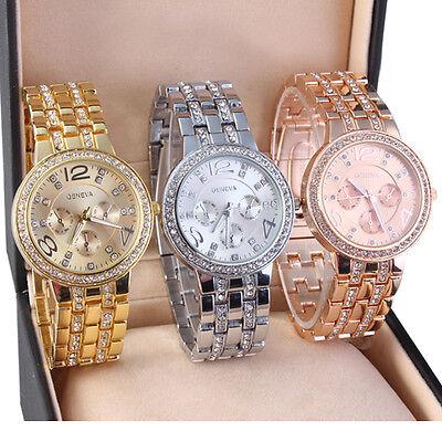 Women's Bracelet Stainless Steel Crystal Diamonds Dial Analog Quartz Wrist Watch 2