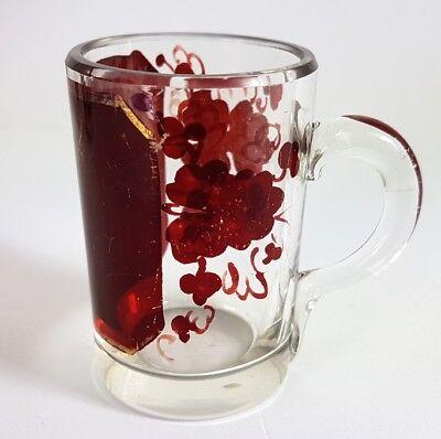 3 Krüge/ Henkel- Becher, Glas gebeizt, um 1900 AL370 11