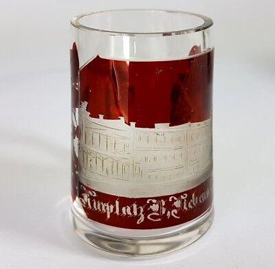 3 Krüge/ Henkel- Becher, Glas gebeizt, um 1900 AL370 7